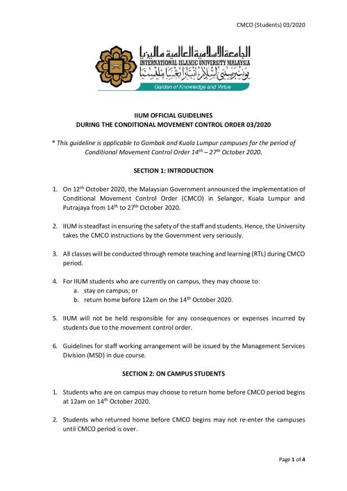 IIUM OFFICIAL GUIDELINES DURING CMCO 03 2020 -page-001