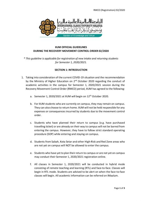 IIUM OFFICIAL GUIDELINES DURING RMCO 02 2020-page-001
